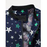 Plus Size 3D stars Imprimé Zip Up Stand Collar Jacket - NOIR