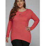 Taille T-Shirt Pocket design High Low plus - ROUGE