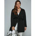 Buy Overlay Tied Plus Size Trench Coat 2XL BLACK