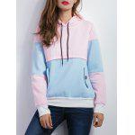 Color Spliced Pullover Hoodie - BLUE AND PINK