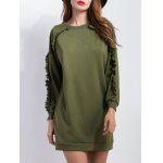 Ruffled Pullover Long Sweatshirt - ARMY GREEN