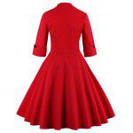 Bowknot Panel Flare Rockabilly Swing Dress - RED