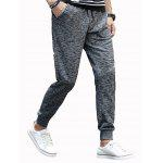 cheap Cotton Blends Lace-Up Beam Feet Jogger Pants