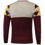 cheap Color Block Spliced Badge Embellished V-Neck Long Sleeve Sweater