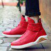 PU Leather Elastic Band Stitching Boots - RED