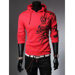 Totem Printed Drawstring Long Sleeves Hoodie - RED