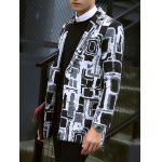 cheap Geometric Pattern Flap Pocket Notch Lapel Coat
