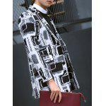 Geometric Pattern Flap Pocket Notch Lapel Coat deal