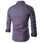 Buy Single Breasted Long Sleeve Spliced Design Shirt L GRAY