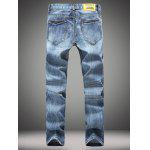 Buy Straight Leg Zip-Fly Distressed Jeans 28 DENIM BLUE