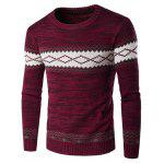 Crew Neck Geometric Space Dyed Sweater - WINE RED