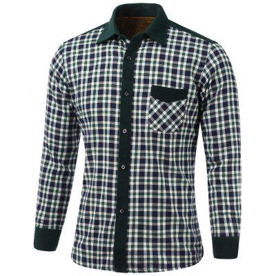 Color Block Plaid Pocket Design Turn-Down Collar Fleece Shirt