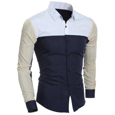 Buy PURPLISH BLUE L Color Block Long Sleeve Shirt for $5.83 in GearBest store
