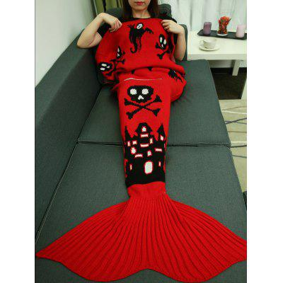 Halloween Castle Skull Crochet Knitting Mermaid Tail Style Blanket