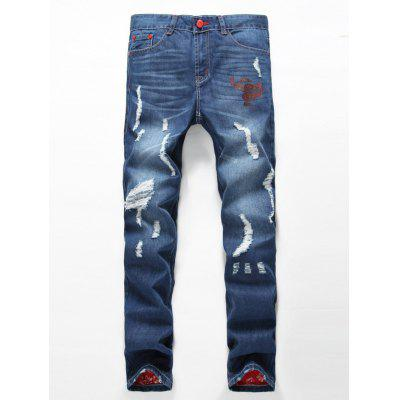 Zipper Fly Holes Design Printed Lining Jeans