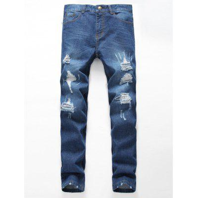 Zipper Fly Distressed Straight Leg Jeans