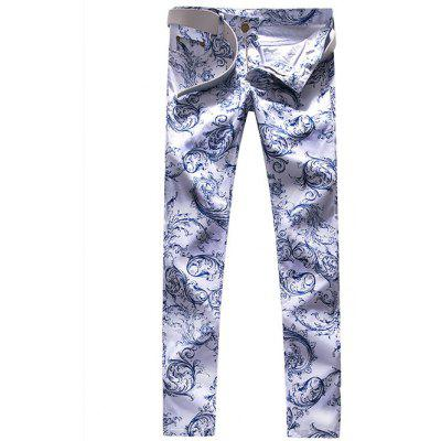 Zipper Fly Florals Print Straight Leg Jeans