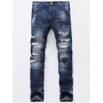 Zip Fly Ripped Jeans