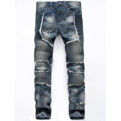 Buy BLUE Straight Leg Frayed Biker Denim Jeans for $34.23 in GearBest store