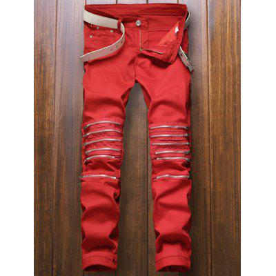 Pocket Rivet Knee Zippers Denim Red Jeans