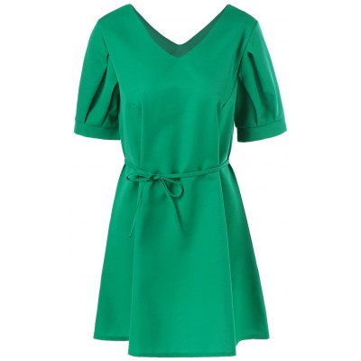 Plus Size High Waist V Neck Belted Dress