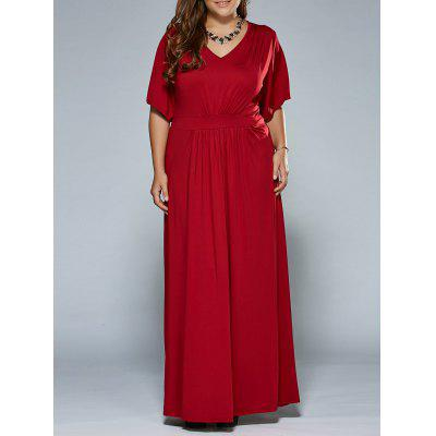 Buy WINE RED Ruched V Neck Maxi Prom Dress for $25.16 in GearBest store