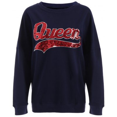 Sequins Queen Pullover Sweatshirt