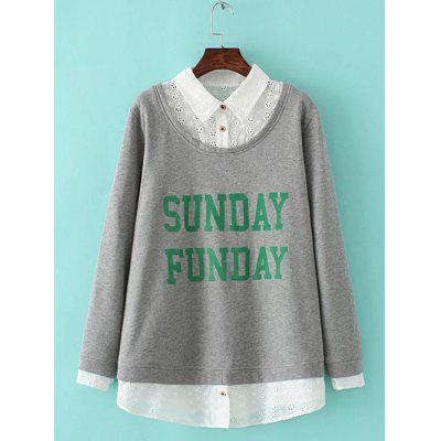Buy GRAY Plus Size Embroidered Fleece Spliced Sunday Sweatshirt for $27.95 in GearBest store
