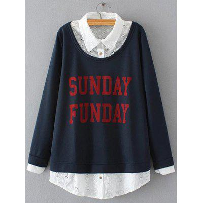 Buy CADETBLUE Plus Size Embroidered Fleece Spliced Sunday Sweatshirt for $27.95 in GearBest store