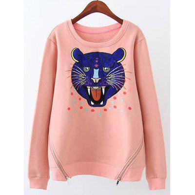 Plus Size Cartoon Tiger Heart Fleece Sweatshirt