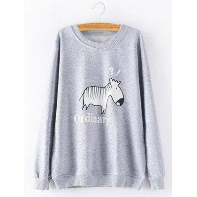 Buy GRAY Plus Size Cartoon Zebra Sweatshirt for $26.97 in GearBest store