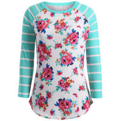 Flower Print Striped Spliced T-Shirt
