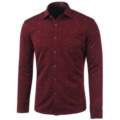 Polka Dot Pattern Pocket Turn-Down Collar Fleece Shirt