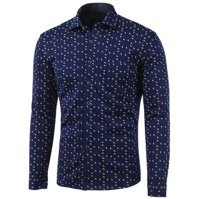 Polka Dot and Spiral Print Turn-Down Collar Fleece Shirt