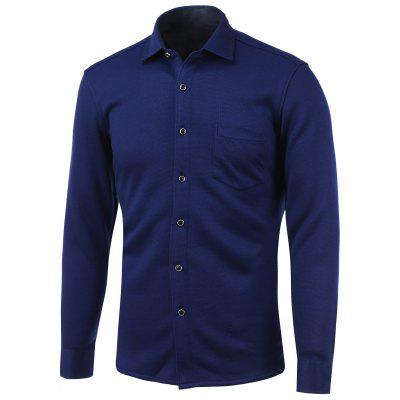 Knit Blends Pocket Turn-Down Collar Fleece Shirt