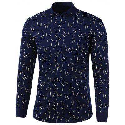 Fireworks Print Pocket Turn-Down Collar Fleece Shirt