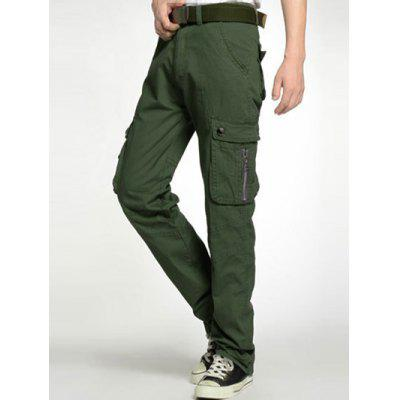 Plus Size Zipper Fly Pockets Embellished Cargo Pants