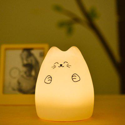 Touching Cat Cartoon USB Charging LED Ombre Night Light
