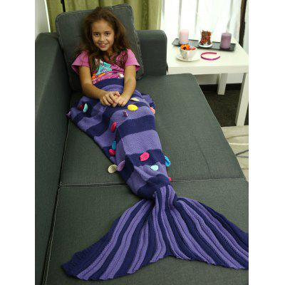 Colorful Patches Embellished Knitting Mermaid Tail Blanket