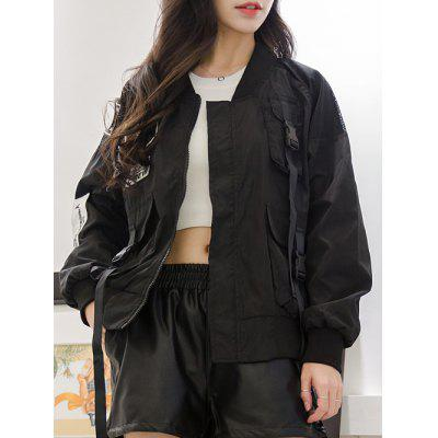 Letter Patch Mesh Spliced Baseball Jacket