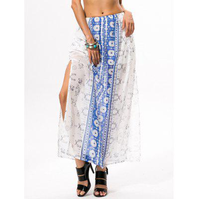 High Slit Bohemian Print Maxi Skirt