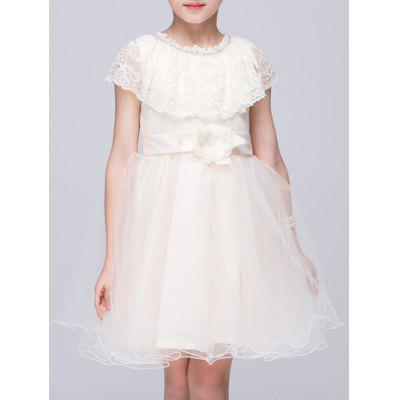 Kids Lace Spliced Ball Gown Dress