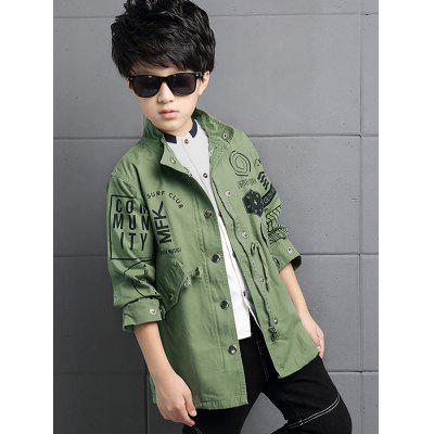 Boys Hooded Letter Print Trench Coat