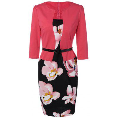 Floral Mid Length Pencil Dress