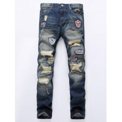 Zipper Fly Holes and Appliques Design Jeans