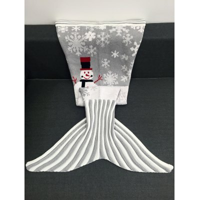 Christmas Snowman Pattern Knitted Mermaid Tail Blanket