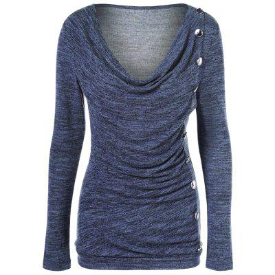 Buy PURPLISH BLUE Side Button Cowl Neck Knitted Long Sleeve Sweater for $7.42 in GearBest store