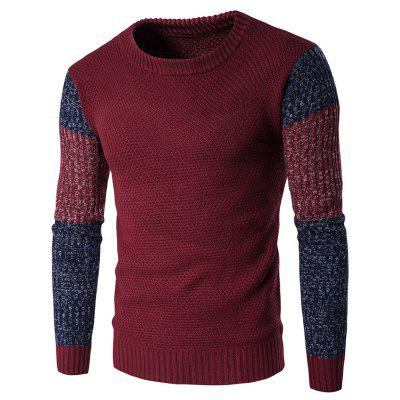 Crew Neck Color Block Space Dyed Sweater