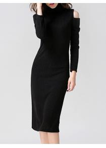 Cold Shoulder Knitted Bodycon Dress