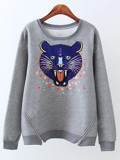 GRAY Plus Size Cartoon Tiger Heart Fleece Sweatshirt